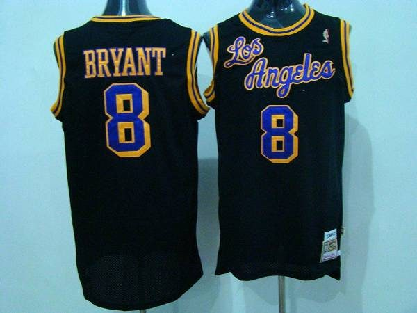 Mitchell and Ness Lakers #8 Kobe Bryant Black Purple/Yellow Number ...